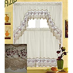 "Fancy Collection 3pc White with Embroidery Floral Kitchen/cafe Curtain Tier and Valance Set 001092 (60"" x 38"", Burgundy/Beige)"
