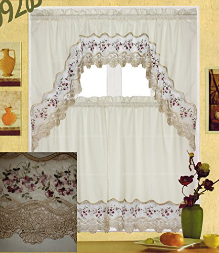 Fancy Collection 3 pc Beige with Embroidery Floral Kitchen/cafe Curtain Tier and Valance Set 001092 (Burgundy/Beige)