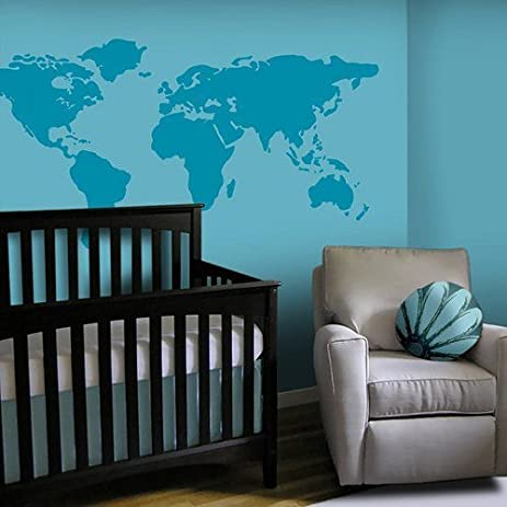 Amazon world map vinyl wall decal countries borders location world map vinyl wall decal countries borders location dots border home house wall decals wall sticker gumiabroncs Gallery