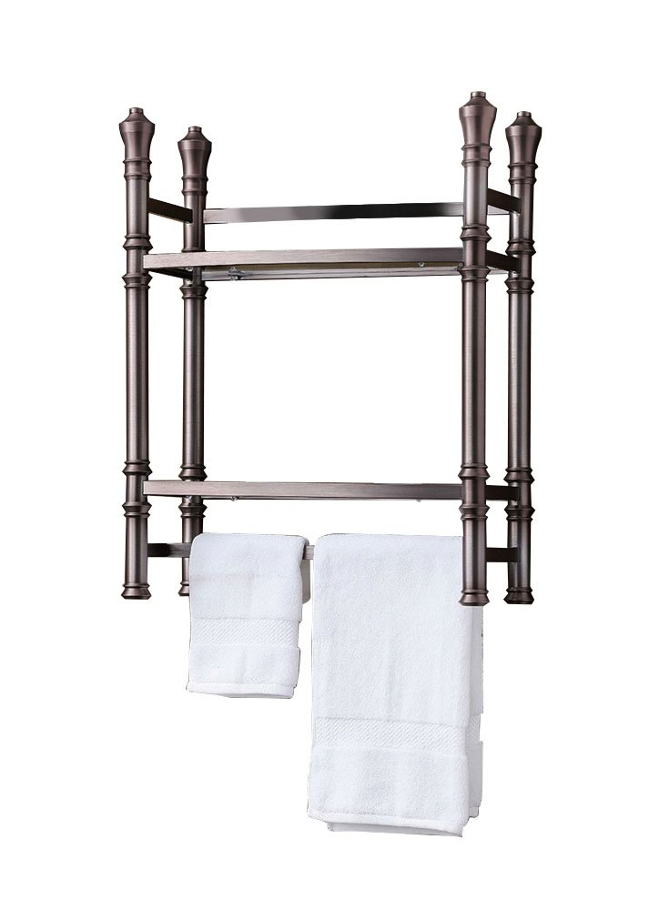 Offex Home No Tool Wall Mount/Countertop Monaco Small Etagere - Brushed Titanium