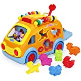 Musical Bus - Push Pull Vehicle Toy - Electronic Car with Gear - Animal - Puzzle - Early Development Learning Educational Toys for 1 - 2 - 3 - 4 Year Old Baby Infant Toddlers Kids Boys Girls - iPlay - iLearn