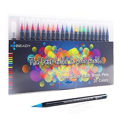 BEADY New Premium Watercolor Brush Pen Set- 20 Colors-Manga Comic Calligraphy Sketch Painting