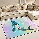 ALAZA Cartoon Sea Marine Siren Cute Mermaid Kids Area Rug,Cute Mermaid Non-Slip Floor Mat Soft Resting Area Doormats for Living Dining Bedroom 5' x 7'