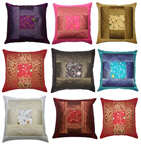 ANJANIYA Christmas Decorative Set of 5 16x16 inch (40x40 cm) Banarsi Silk Indian Ethnic Bohemian Throw Pillow Cover Handcrafted Patchwork Sari Throw Pillow Boho Decor Cushion Covers (Silk)
