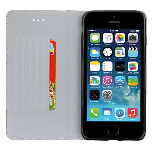 MOONCASE iPhone SE Hülle Blume Engraved Klappetui Leder Tasche Karte Halter Schutzhülle Case mit Standfunktion für Apple iPhone 5 / 5S / iPhone SE Rot