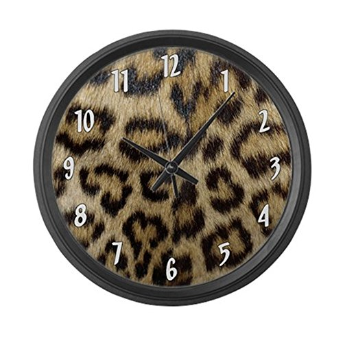 CafePress – Leopard Print – Large 17″ Round Wall Clock, Unique Decorative Clock