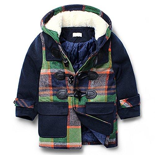 LJYH Boy's Winter Hooded Jacket Kids Wool Blend Toggle Coat