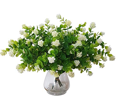 Artificial Greenery with White Roses Farmhouse Decorations Floral Centerpieces For Tables Faux Flowers Bulk 4 pcs. 13 inches Boxwood Shrubs