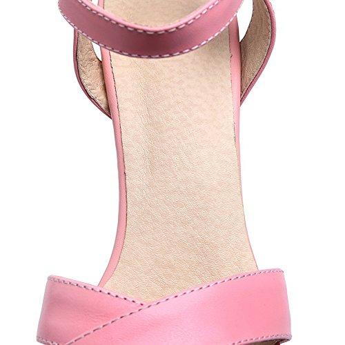Amoonyfashion Vacchetta Da Donna In Pelle Pieno Fiore Fibbia Sandali Con Tacco Alto Rosa