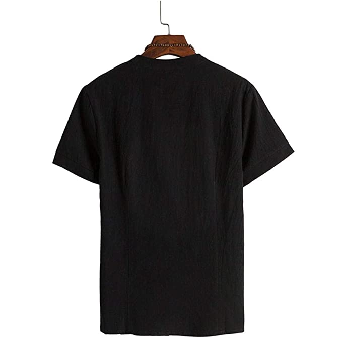 Amazon.com: kaifongfu Short Sleeve Shirt,Solid Color Cotton Men Shirt Tang Short Sleeve Button Tops: Clothing