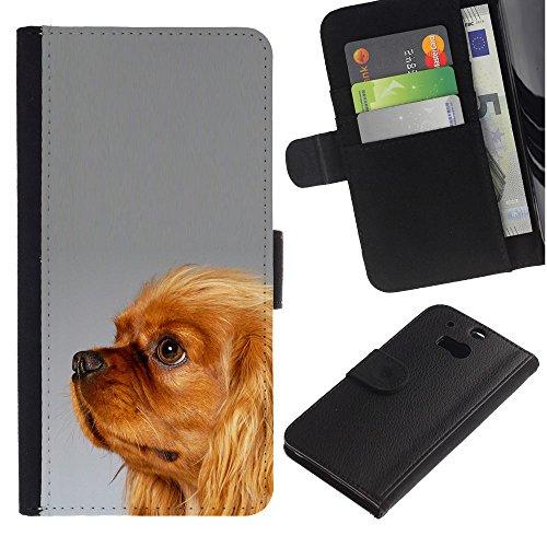 EuroCase - HTC One M8 - Yorkshire terrier golden fur brown - Cuero PU Delgado caso cubierta Shell Armor Funda Case Cover