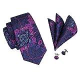 Hi-Tie Elegant Woven Silk Tie Set Blue Purple