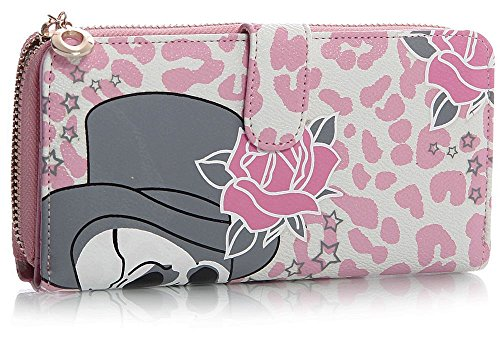 Big Handbag Shop Womens Skull and Roses Print Coin Credit Card Wallet Purse (White Pink) (Pink Skull Coin Purse)
