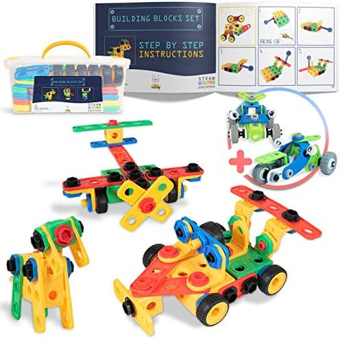 SMART WALLABY 101 pc. STEM Building Toy Set for Boys & Girls Ages 3-7 + 52 pc. Bonus Gift  Bolts & Nuts Construction Building Blocks Toy Set for Fun Educational & Creative Growth