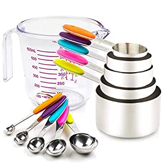 Measuring Cups and Spoons Set 11 Piece 304 Stainless Steel Measuring Cups and Spoons Set Including 5 Piece Measuring Cups and 5 Piece Measuring Spoons and 1 Transparent Plastic Measuring Cup