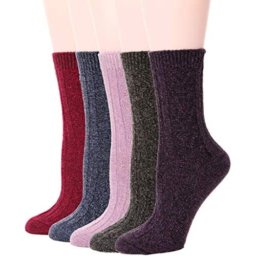 Womens Wool Socks Warm Knit Comfort Cotton Work Duty Boot Winter Socks For Cold Weather 5 Pack (Solid Colors-V)