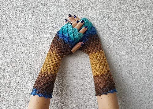 Amazoncom Dragon Scale Gloves Fingerless Gloves Crochet Winter