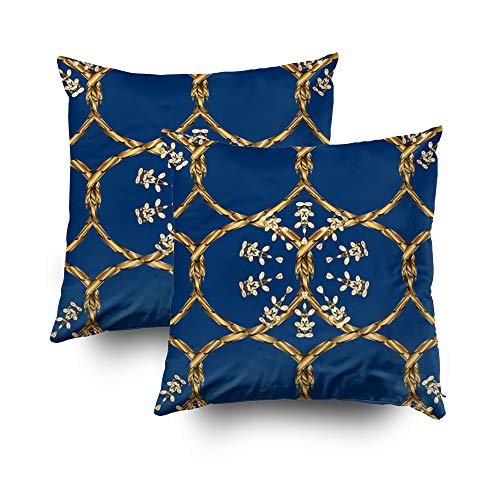 Case Bros Antique - Shorping Pillow Covers,18x18Inch Pack 2 Decorative Pillowcase for Home Décor Cusion Covers Antique Golden repeatable Wallpaper Gold Floral Ornament in Baroque Style Golden Element on Blue bro