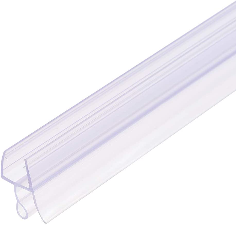uxcell Frameless Glass Shower Door Sweep - Door Bottom Side Seal Strip with 15/32-Inch Drip Rail - 3/8-Inch Glass x 27.56-Inch Length