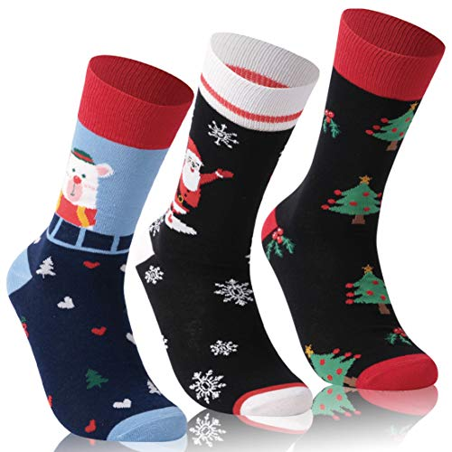 Christmas Novelty Socks,TXXM Men Women Fashion Holiday Fancy Dress Socks,Festival Gift Crew Socks,Colorful Casual Christmas Funny Dress Socks 3 Pack