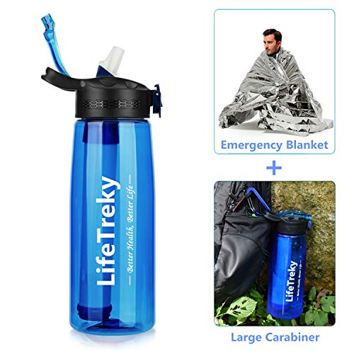 LifeTreky Filtered Water Bottle, Water Bottle with Filter, 2-Stage Integrated Straw Water Purifier Travel, Personal Water Filter Bottle Travel for Hiking, International Travel (Blue)