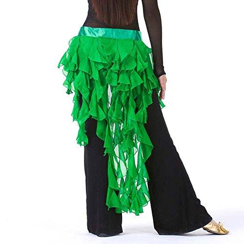 13 Color Fox Tail Scarf, Waist Belt, Egypt Belly Dance Hip Scarf (Dark Green)