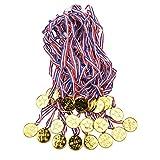 Onepine 36pcs Gold Medal Set Kids Children's Gold Plastic Winner Award Medals