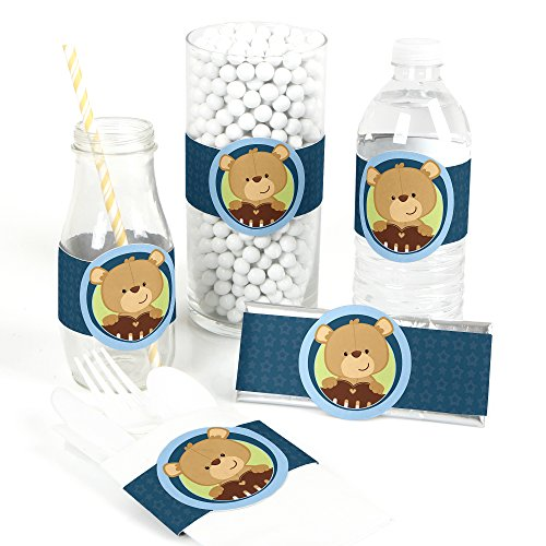 (Baby Boy Teddy Bear - DIY Party Supplies - Baby Shower DIY Wrapper Favors & Decorations - Set of)