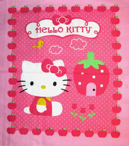 upcake Logo Kitten Cat Bow Apple Cotton Fabric By The Panel (Fabric Cat Button)