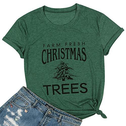 LUKYCILD Women Christmas Holiday T Shirt Farm Fresh Christmas Trees Print Funny Shirt Size L (Green) (Little Target Christmas Tree)