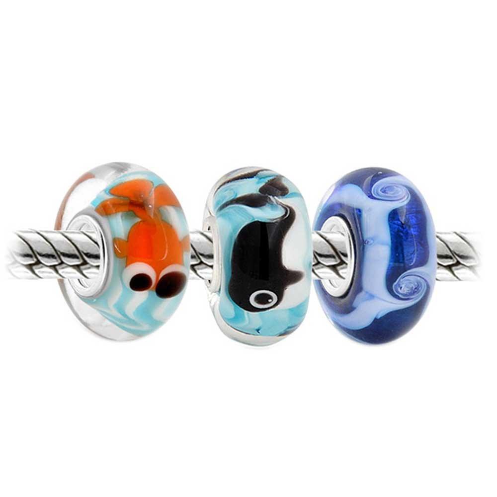 Aqua nautico in vetro di Murano Mix di 3 argento Sterling cordone distanziatore fascino Europeo bracciale donne