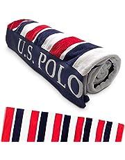 "U.S. Polo Assn. Oversized (40"" x 70"") Striped Nautical Design Beach Towel - Luxury Plush Cotton Hotel Quality for Bath, Pool - East Coast Stripe"