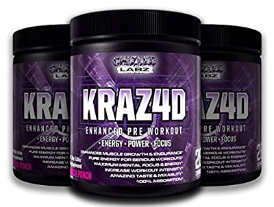 Best Pre Workout KRAZ4D Enhanced Formula. Energy Booster Assist in Power Focus Muscle Growth & More for Serious Workouts. Yohimbe Powder Supplement Drink Great Taste 100% Absorption & No Side Effects
