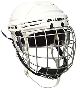 Bauer 2100 1036882 - Casco de hockey con rejilla de protección facial para niño, talla L, color blanco