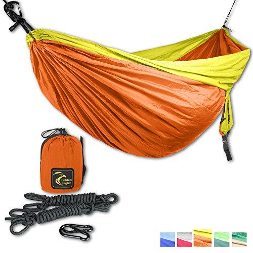 Golden Eagle Double Camping Hammock - Lightweight Parachute Silk Portable Hammocks for Hiking, Travel, Backpacking, Beach, Yard - Bonus: included hanging set. SWISS DESIGN.