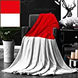 Ralahome Unique Custom Double Sides Print Flannel Blankets Flag Of Indonesia Super Soft Blanketry for Bed Couch, Throw Blanket 50 x 70 Inches