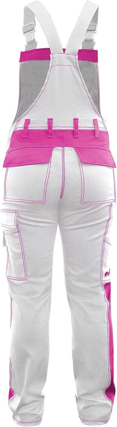 Damen Arbeitshose Arbeits-Latzhose Stretch f/ür Frauen mit Kniepolstertaschen Baumwolle Kombihose Pink-Schwarz strongAnt