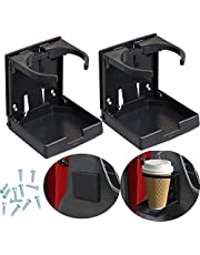 2pcs Adjustable Folding Cup Drink Holder with Screws and Tapes, Adjustable Automotive Cup Holders for Car TRUCK BOAT VAN. (Black)