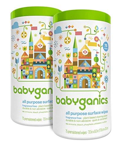 Babyganics todos propósito superficie limpia, libre de fragancia, cuenta 150 (contiene dos frascos de 75-cuenta)