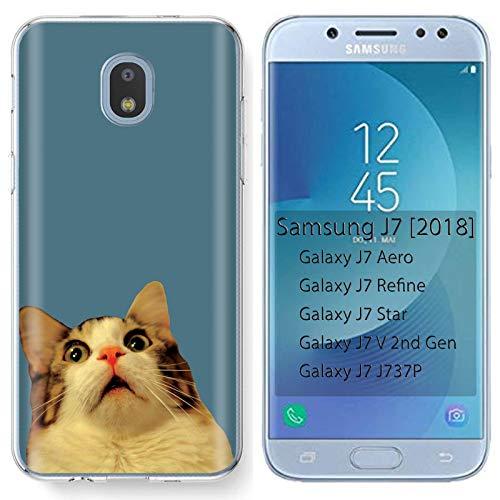 - [Mobiflare] Samsung Galaxy (J7 2018) (J737) [J7 Aero / J7 Star / J7 Refine / J7 Top,] Ultraflex Thin Gel Phone Cover [Surprise Cat Print]