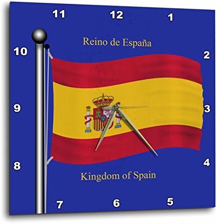 3dRose DPP 63207 _ 2 la Bandera de España sobre un Fondo Azul con Reino de España en inglés y español Reloj de Pared, 13 por 13