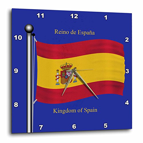 3dRose dpp_63207_2 The Flag of Spain on a Blue Background with Kingdom of Spain in English & Spanish Wall Clock, 13 by 13'' by 3dRose