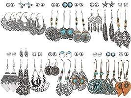 36 Pairs Fashion Vintage Drop Dangle Earrings Set for Women Girls Bohemian Earrings with Hollow Leaf Waterdrop Jewelry...