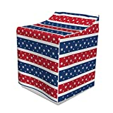 Lunarable Abstract Washer Cover, National Flag Style Stripes and Stars on Horizontal Backdrop Art Print, Suitable for Dryer and Washing Machine, 29'' x 28'' x 40'', Dark Blue Red White