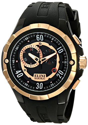Elini Barokas Men's ELINI-10005-BB-01-RB Trespasser Swiss Quartz Black Watch - Elini Black Chronograph
