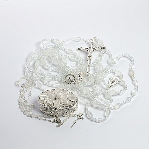 Frosted Olive 3-Item Set 622 - Wedding Lazo Rosary Arras Silver - Lazo de Bodas Handcrafted Swarovski Crystal Wedding Lasso - Lasso, Lazo de Bodas Rosary Lazo Arras Combo - Jewelry Box & Ivory Organza Bag Included (Frosted Center)