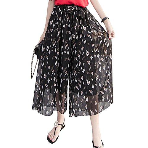 Floral Mousseline Large Plage Pantalons Jambe de Mode Confortable Soie Couleur Longueur Femme 1 Leggings Haute Taille Imprim Boho Cheville Pantalons Lache t Pantalon Casual xzwXFn4