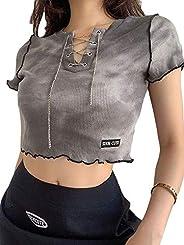 Shuyun Summer Girls Short Sleeve T-Shirt, Chain Decoration Tie-Dyed Casual Crop Top Slim Base Shirt for Valent