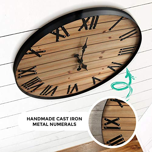 24 inch Rustic Wall Clock | Handmade Large Clock | Real Wood Clock, Beautiful Decorative Wall Clock Large | Oversized… 4