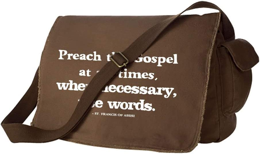 16 x 12 x 5 Francis of Assisi Irish Prayer Saint Quote Large Java Brown 100/% Cotton Canvas Messenger Bag Preach the Gospel NEW St Back to School Backpack Catholic to the Max